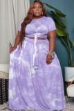 Sommer Plus Size Tie Dye Lila geknotetes Crop Top und langer Rock 2er Set