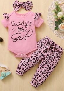 Conjunto de calças leopardo de 3 peças para bebê menina verão