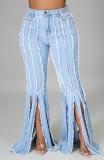 Jeans acampanados de borlas azul claro de cintura alta de verano