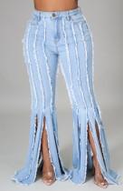 Sommer High Waist Hellblaue Quasten Flare Jeans