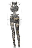 Sommer Tiger Print Cut Out Sexy Bodycon Ärmelloser Overall