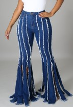 Sommer-Flare-Jeans mit hoher Taille in Blau mit Quasten