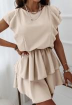 Yaz Günlük Ruffles Bej Patenci Elbise