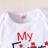 Conjunto de pantalón corto de 2 piezas con estampado de bandera de verano para bebé niña