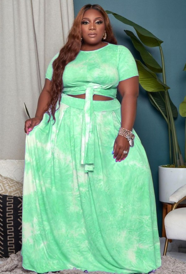 Sommer Plus Size Tie Dye Grünes geknotetes Crop Top und langer Rock 2er Set