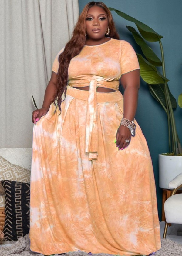 Summer Plus Size Tie Dye Conjunto de top corto anudado naranja y falda larga de 2 piezas