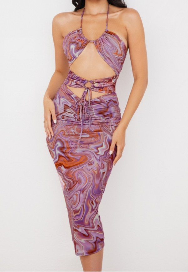 Sommer Print Lila Sexy Strings Cut Out Partykleid