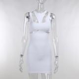 Minivestido sin mangas de fiesta de corte blanco sexy de verano