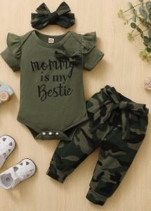 Conjunto de calças camou de 3 peças para bebê menina verão