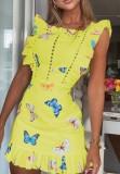 Sommergelbes Minikleid mit ausgehöhltem Schmetterlingsdruck und Rüschen