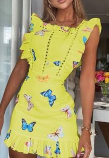 Mini abito giallo estivo con volant e stampa farfalla scava fuori