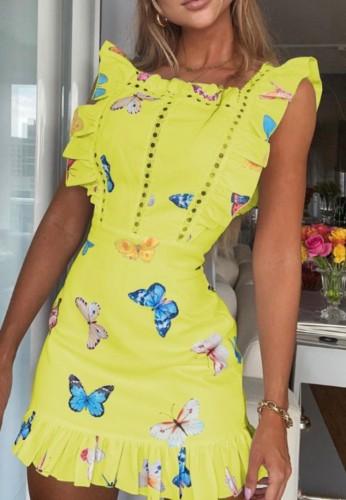 Mini-robe jaune d'été à volants et imprimé papillon