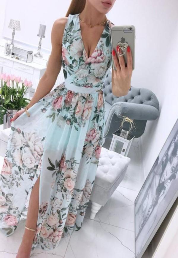 Sommer formales Blumengrünes ärmelloses langes Wickelkleid