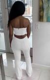 Conjunto de pantalón y top corto sin tirantes sexy blanco formal de verano a juego