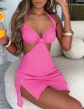 Sommer Rosa Sexy Cut Out Neckholder Mini Club Kleid