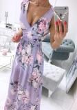 Vestido largo cruzado sin mangas púrpura floral formal de verano