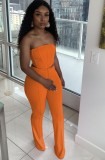 Conjunto de pantalón y top corto sin tirantes sexy naranja formal de verano a juego