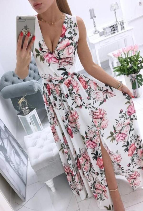 Sommer formales weißes ärmelloses langes Wickelkleid mit Blumen