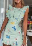 Sommergrünes Minikleid mit ausgehöhltem Schmetterlingsdruck und Rüschen