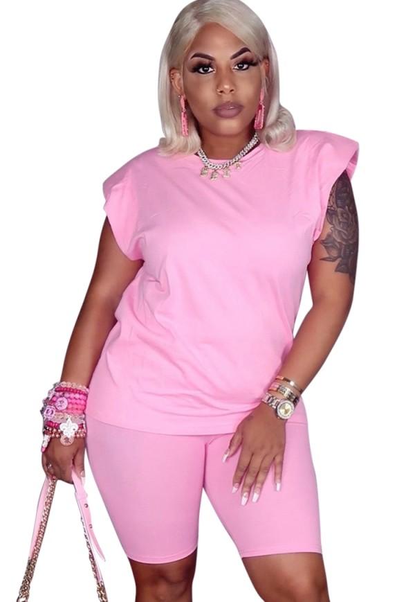 Sommer Casual Pink Shirt und Biker Shorts 2 Stück passendes Set