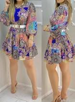 Elegantes Skaterkleid mit Sommer-Print und Puffärmeln