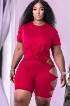 Summer Red Sexy Shirt y Hollow Out Shorts Conjunto de 2 piezas