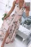 Vestido largo sin mangas sin mangas rosa floral formal de verano
