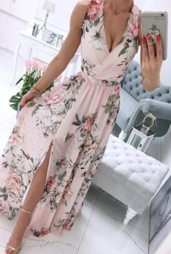 Robe d'été longue enveloppante florale rose sans manches