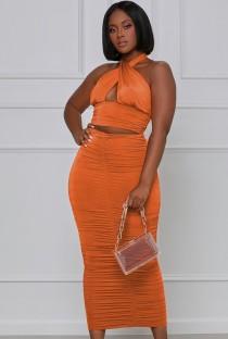 Summer Formale Arancione Sexy Halter Crop Top e Gonna Midi arricciata Set coordinato