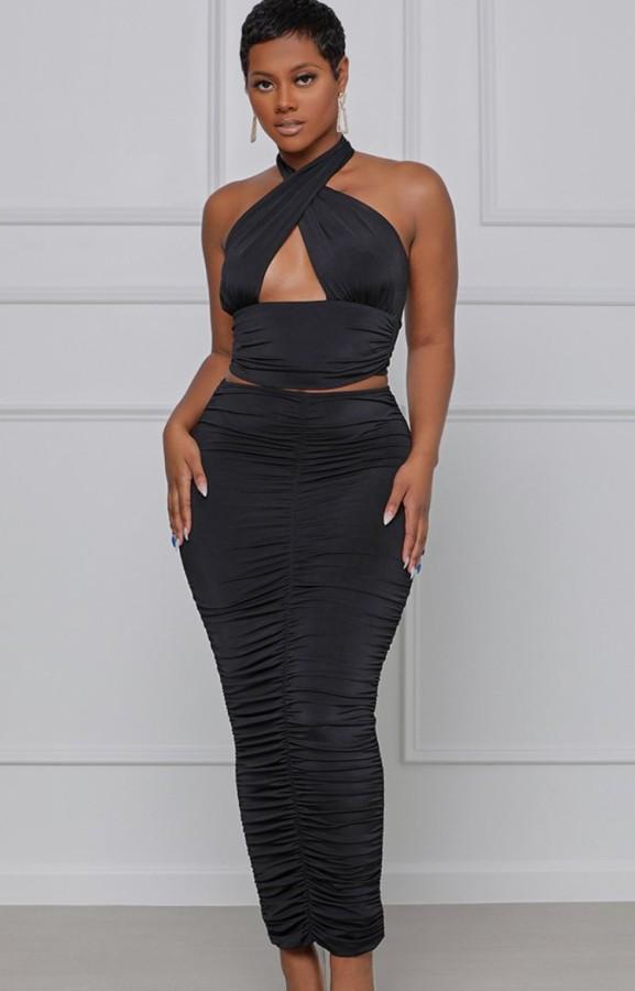 Verano formal negro sexy halter crop top y falda midi fruncida a juego