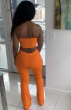 Sommer Formal Orange Sexy Trägerloses Crop Top und Hosen Passendes Set
