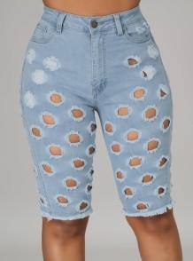 Lichtblauwe denim short met hoge taille voor de zomer