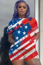 Yaz Günlük Bayrak Baskı Bodycon Gömlek ve Şort 2 Parça Set