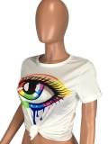 Camisa regular de verano casual con estampado de lágrimas en blanco