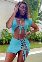 Sommer Sexy blaues bauchfreies Top und Minirock zum Schnüren