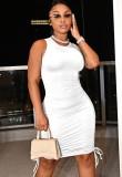 Mini vestido casual de verano con cordones fruncidos sin mangas blanco