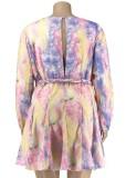 Sommer Plus Size Casual Tie Dye Skaterkleid mit Gürtel