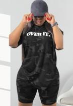 Sommer Plus Size Camou Hemd und Biker Shorts 2-teiliges passendes Set
