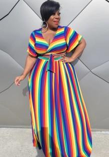 Conjunto de saia longa e blusa arco-íris de verão plus size