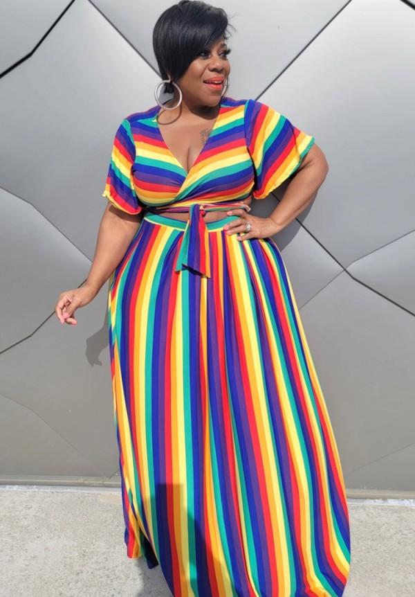 Conjunto de falda larga y top corto con arcoíris de verano de talla grande