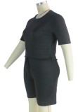 Summer Plus Size Black Casual Shirt y Shorts Conjunto de 2 piezas