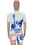 Sommer Casual Flag Print Bodycon Hemd und Shorts 2-teiliges Set