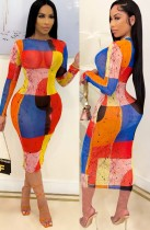 Summer Sexy Color Block Midi Bodycon Dress with Full Sleeves