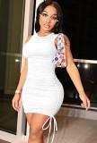 サマーカジュアルホワイトノースリーブシャーリングストリングスミニドレス