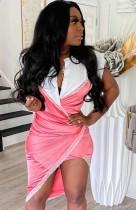 Sommer Sexy Colour Block Wrap Unregelmäßiges Kleid