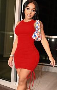 Zomer casual rode mouwloze mini-jurk met ruches en strings