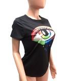 Camisa regular de verano casual con estampado de lágrimas en negro