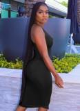 Vestido sin mangas midi ajustado sexy negro de verano