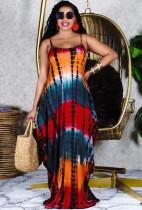 Vestido largo suelto con tirantes anudados de verano