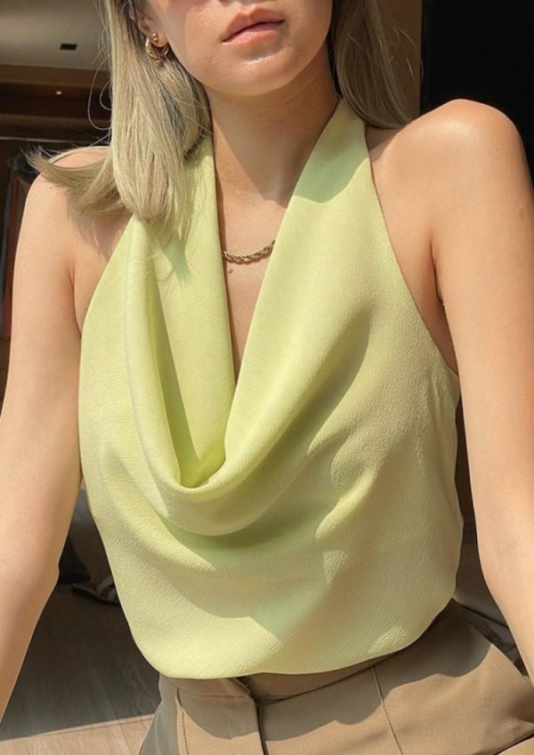 Haut court à dos nu vert sexy d'été